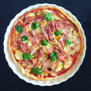 pizza au pesto chevre jambon cru