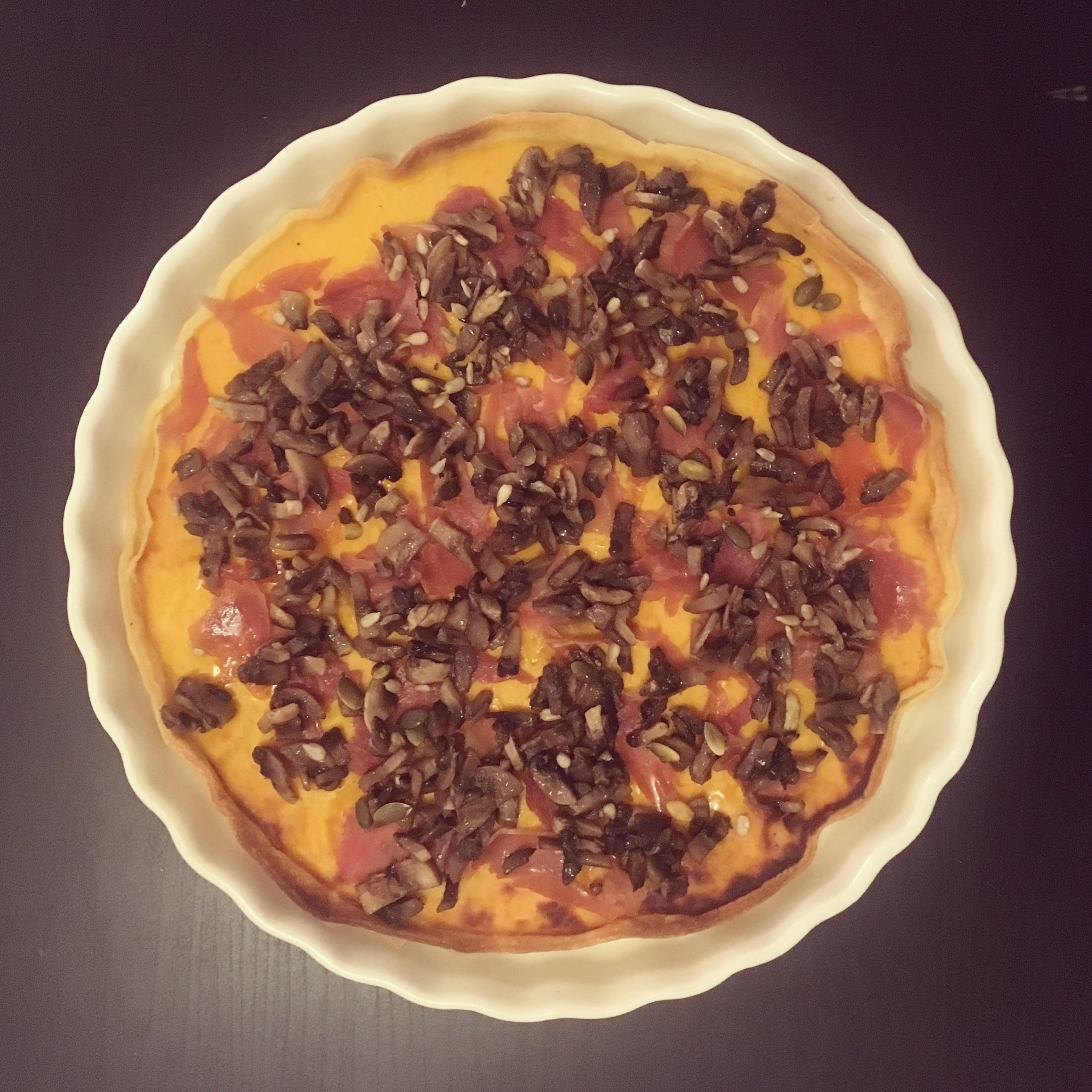 Tarte au potiron, champignons, jambon cru